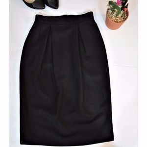 Vintage Wool Black Skirt Pleat Office Work Pencil